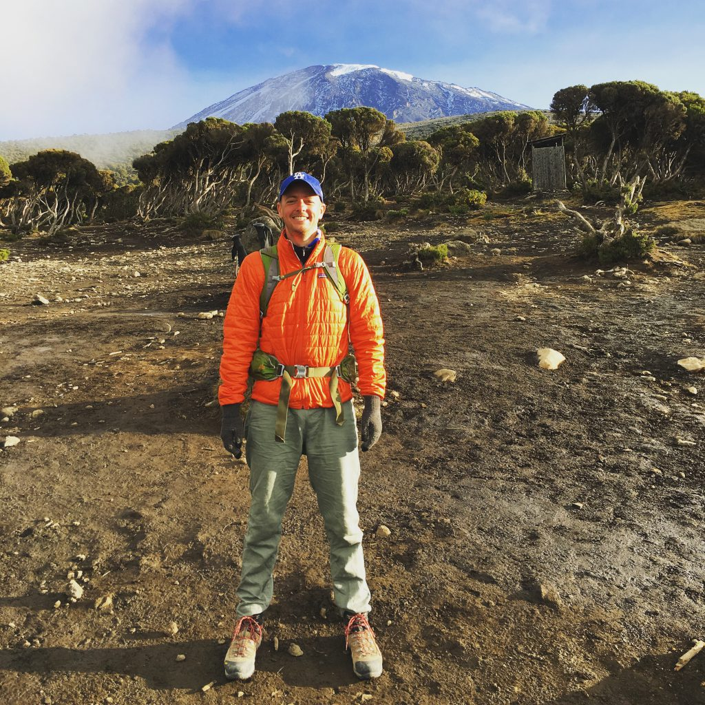 Chad Concelmo during his descent from Mt. Kilimanjaro